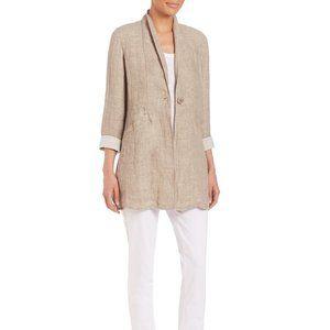 Eileen Fisher Natural Tan Double Weave Linen Coat